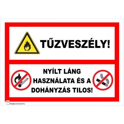 Tűzveszély! Nyílt láng használata és a dohányzás tilos!